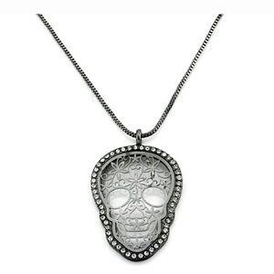 NEW skull necklace flower stones